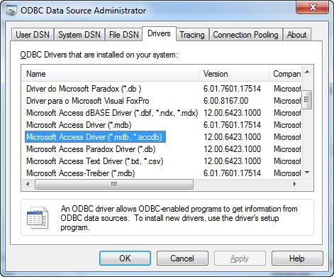 Odbc driver windows 7 x64 access