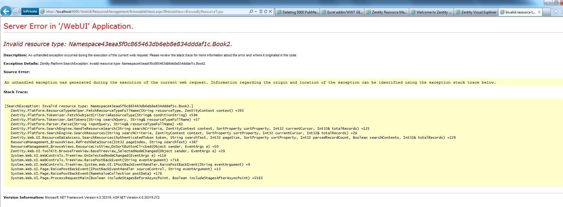 WebUI Error for book2