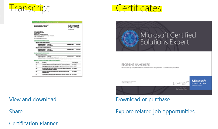 Unable To See My Microsoft Certificate On Ms Learning Portal Only