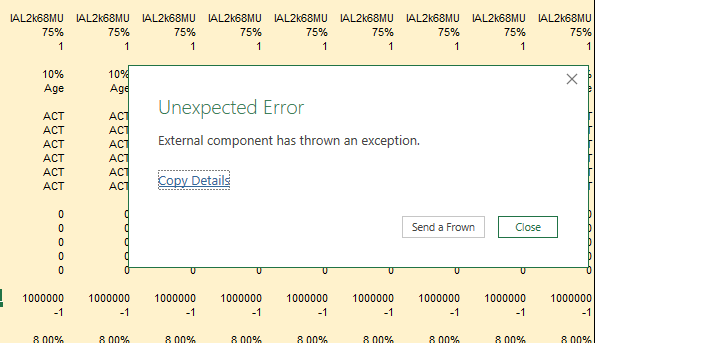 Error message as it appears on Excel