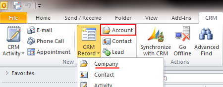 Outlook client ribbon account button