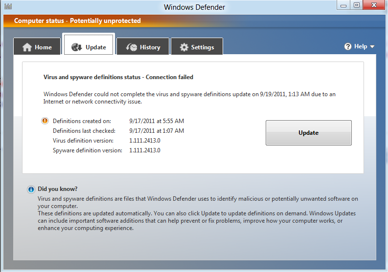 Windows defender update not installing for Window defender update