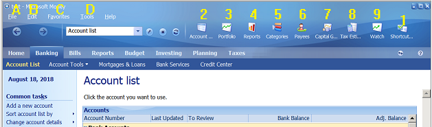 Microsoft Money Shortcuts marked image
