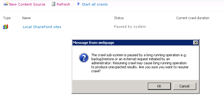 sharepoint crawl  u0026quot paused by system u0026quot