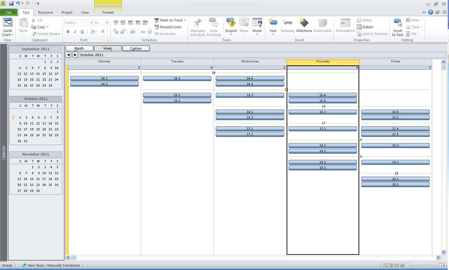 2010 project calendar view 1 week tasks not viewable for Microsoft viewer project 2010