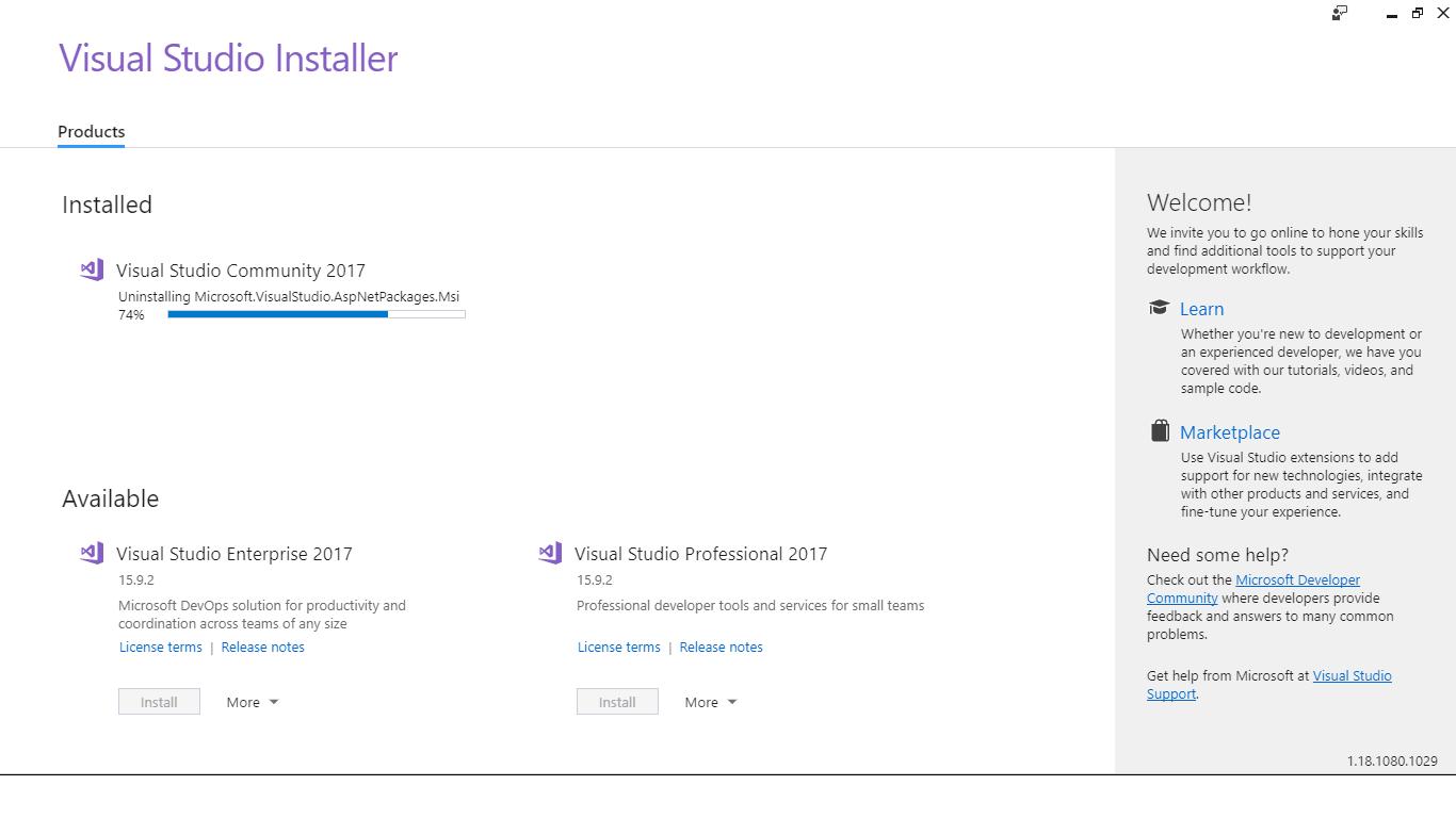 Visual studio (un)installer