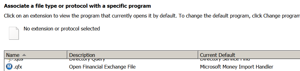 Opening * qfx stopped sending the file to Microsoft Money for me