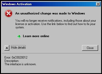 Window Activate Error