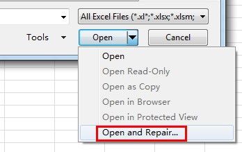 my excel file is corrupted how to open it