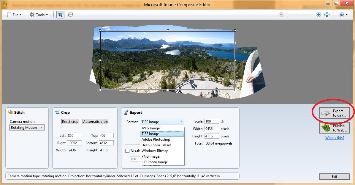 Ejemplo de la ventana en la que se está componiendo una imagen panorámica