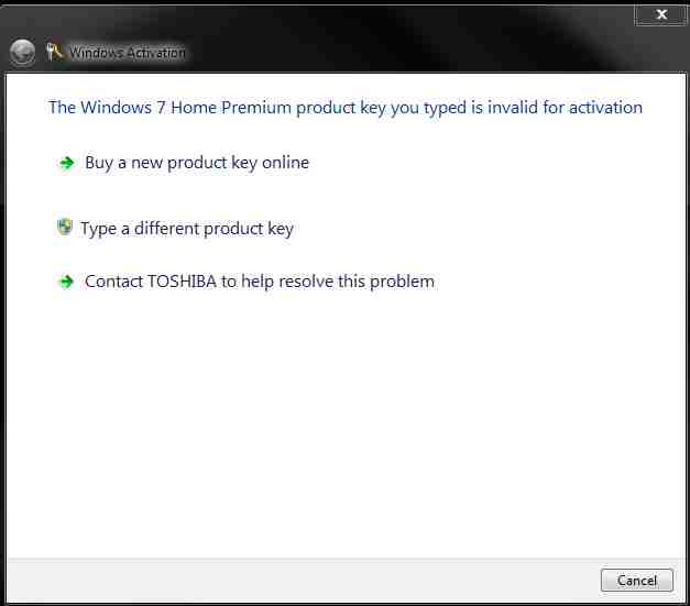 a windows 7 home premium producy key is not valid for activation