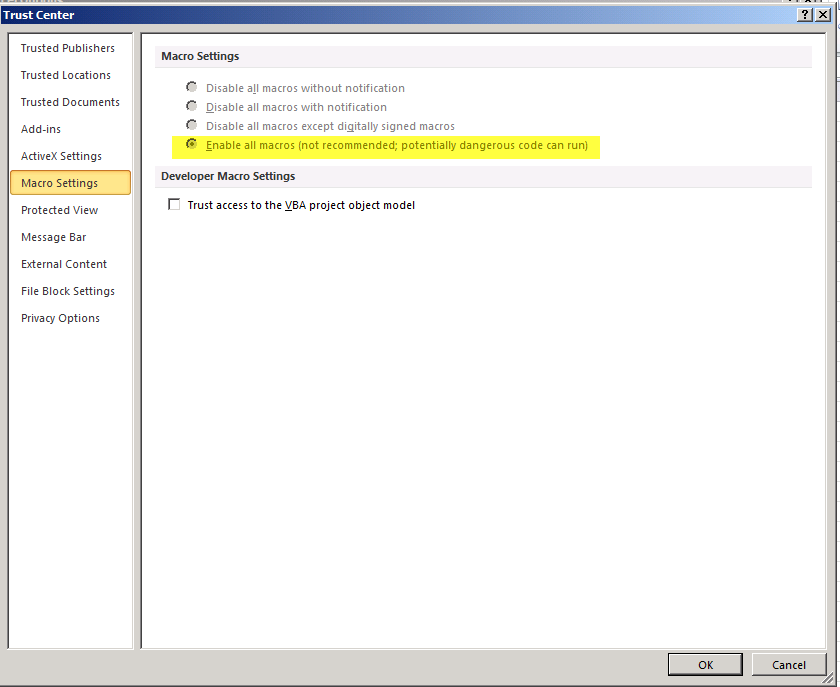 GPO to enable Excel 2007 and 2010 Macro's