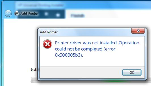 Out Of Sudden Unable To Install Printer