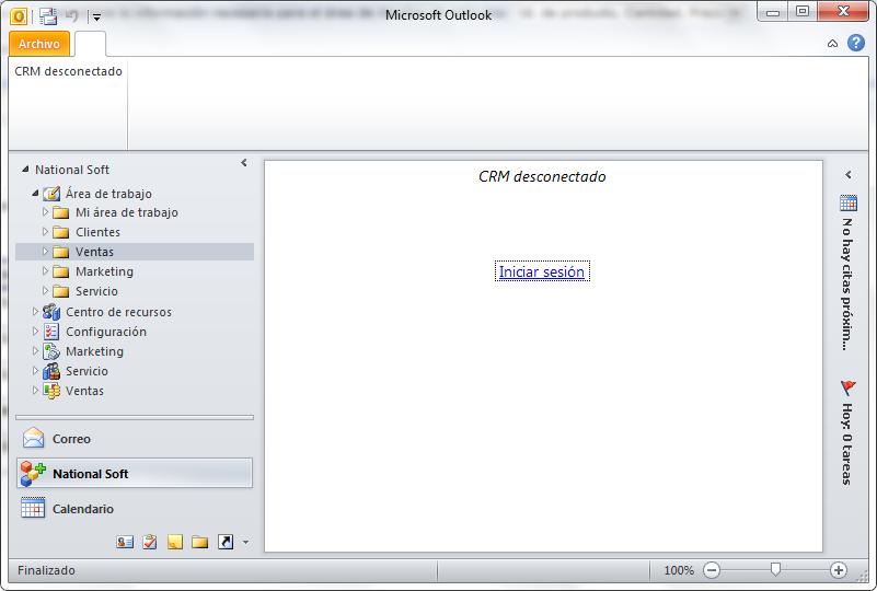 CRM desconectado en Microsoft Outlook