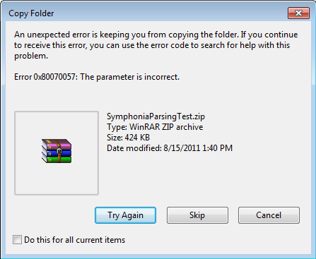 Error 0x80070057: The parameter is incorrect on Copy Paste