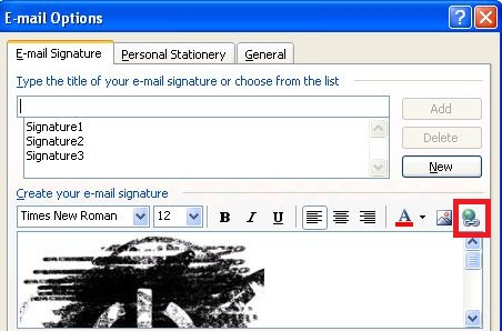 how to get a signature on outlook 2003