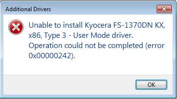 Error 0x00000242 when adding x86 printer to x64 Server 2008 Print Server