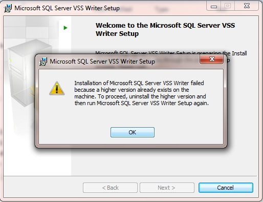 SqlServerWriter missing when VSSadmin list writers command is run
