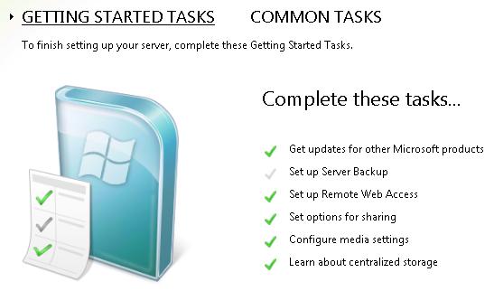 Getting Started Task 'Set Up Server Backup' Alert