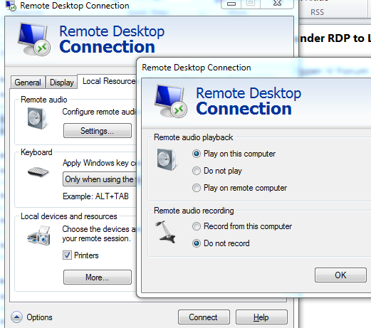 no sound device support under RDP to Lync Client running in