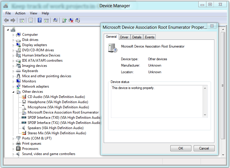 Microsoft device association root enumerator
