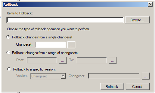 Rollback version control system