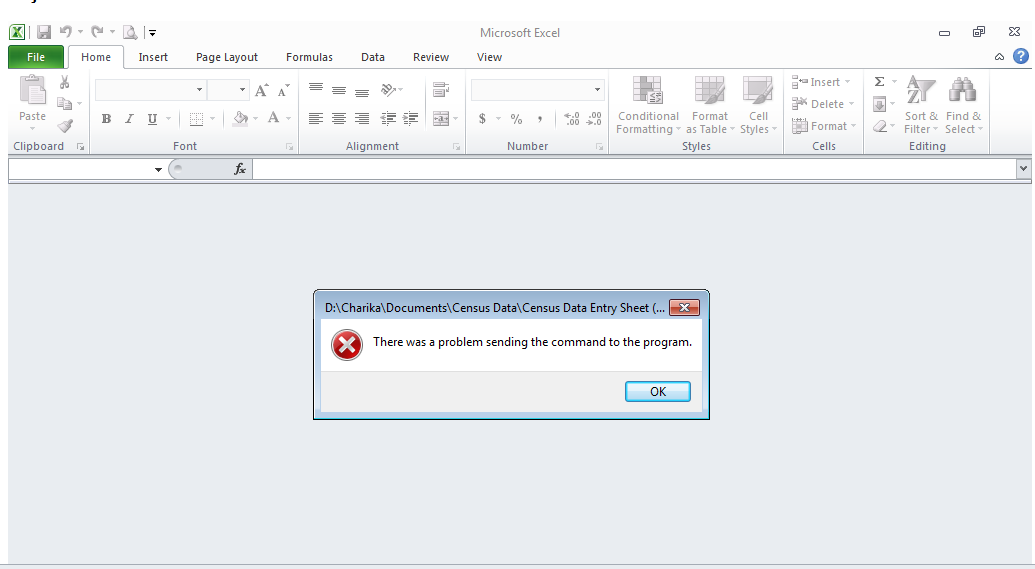 excel there was a problem sending the command to the program office 2007