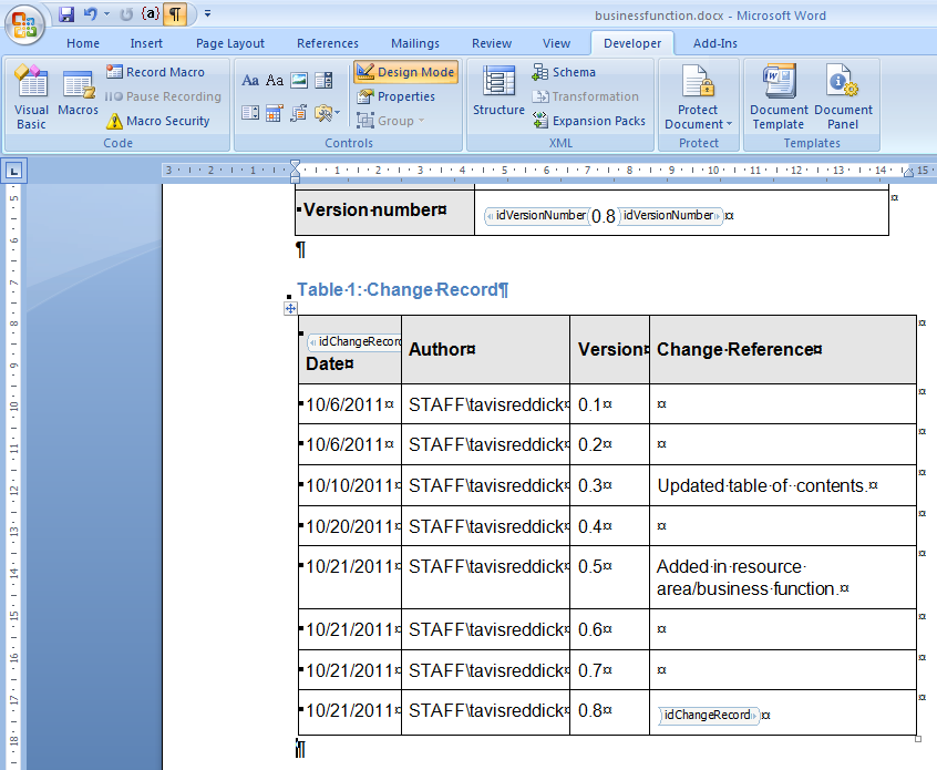 Getting version information current history from for Bureau word origin