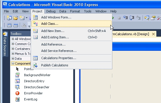 HOW DO I ADD A COMPONENT IN VISUAL BASIC 2010 EXPRESS?