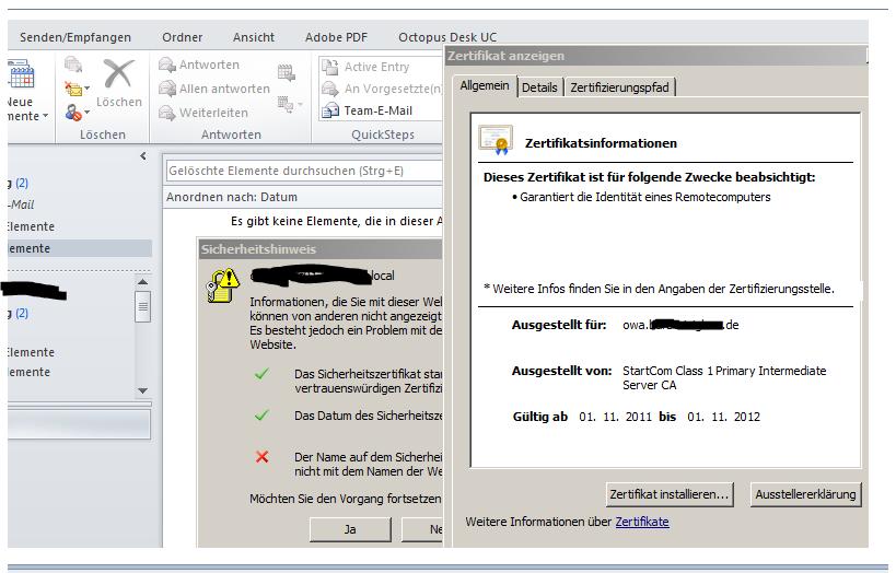 Exchange 2010 - Outlook 2010 Fehlehaftes Zertifikat wird angezeigt