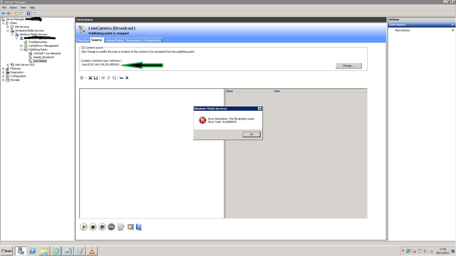 Windows Media Server Did not Accept HTTP or RTSP streams???