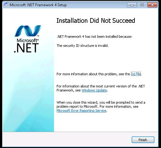 Installing .NET 4.0 on Windows 7 32bit Errors - Invalid ID Structure