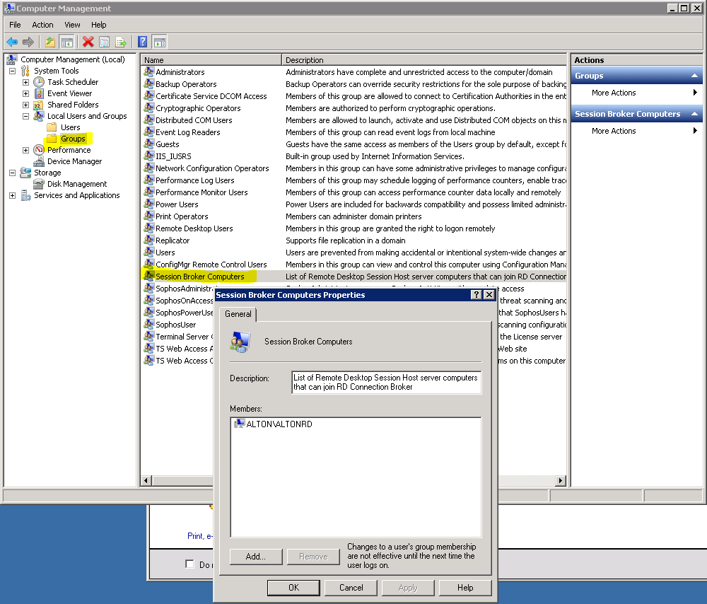 2008 R2 farm - brokering and behavior of HP thin clients