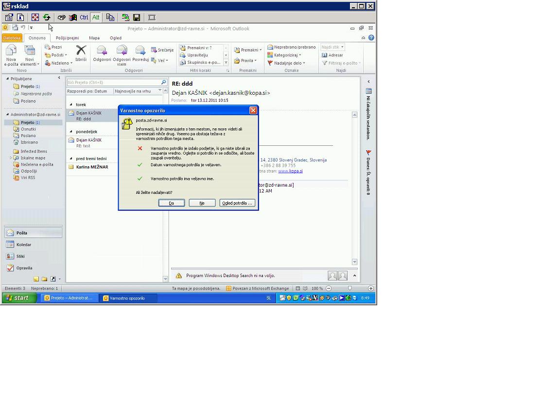 Outlook 2010 Certificate Warning