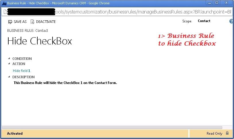 Business Rule define to hide CheckBox