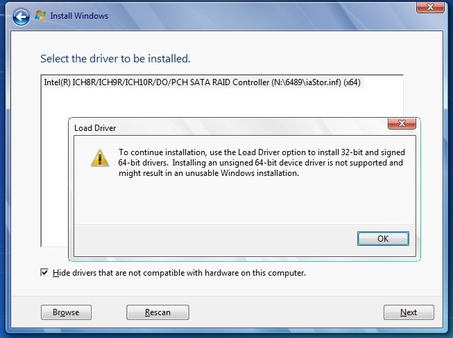 install windows 7 with unsigned raid drivers