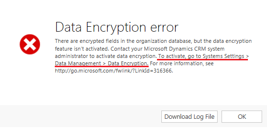 Data Encryption error when sending email from CRM