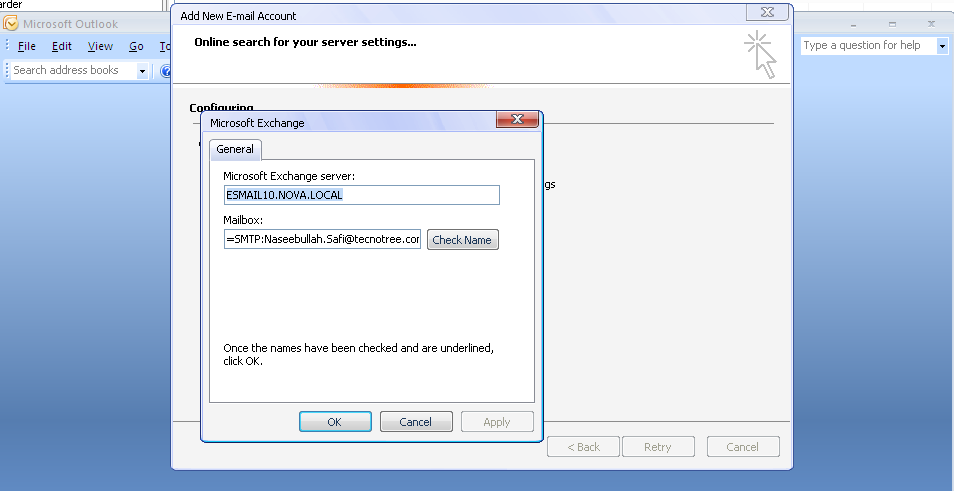 Outlook 2007 error: the action cannot be completed. the connection