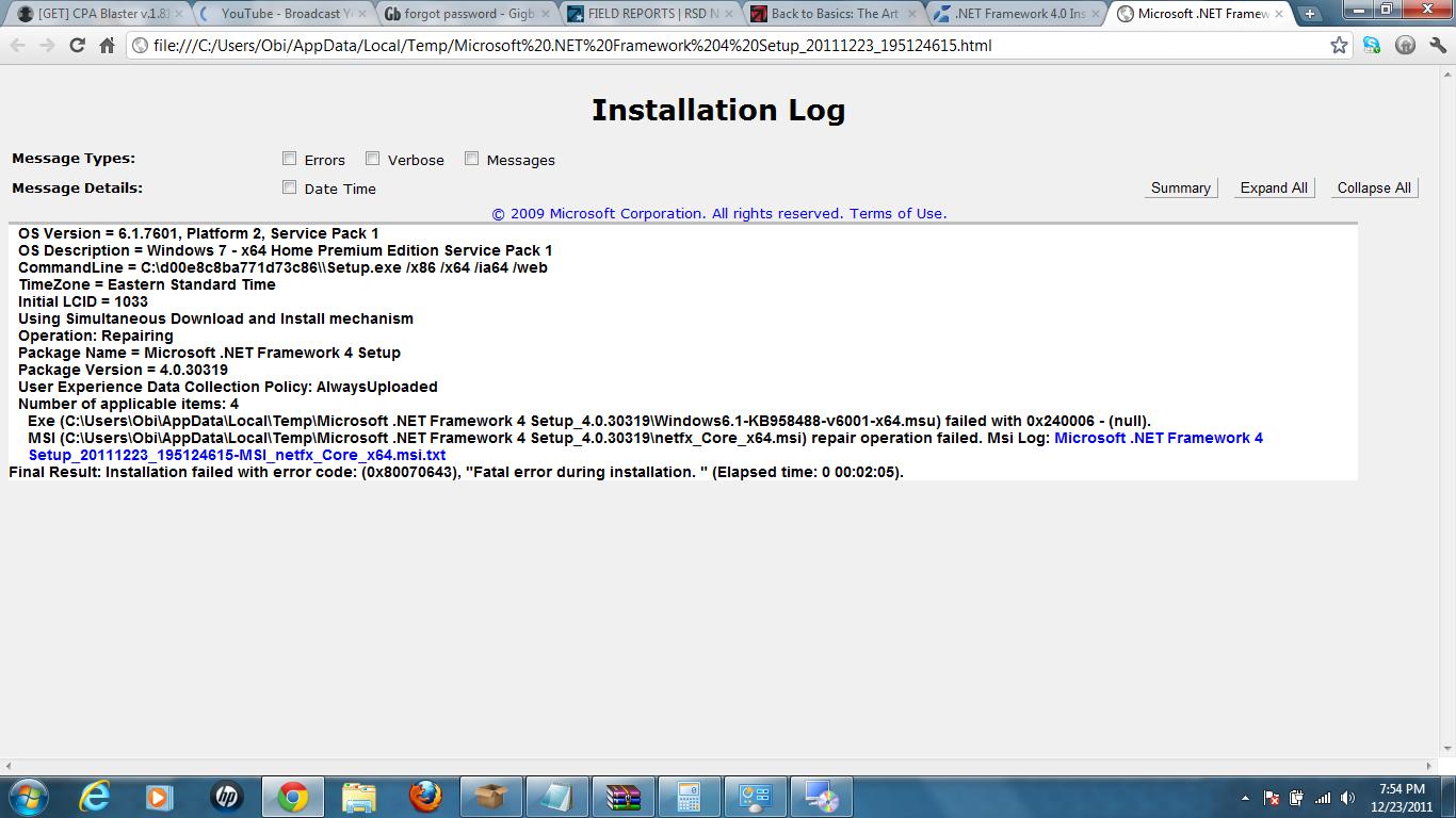 Can\'t install .NET Framework 4