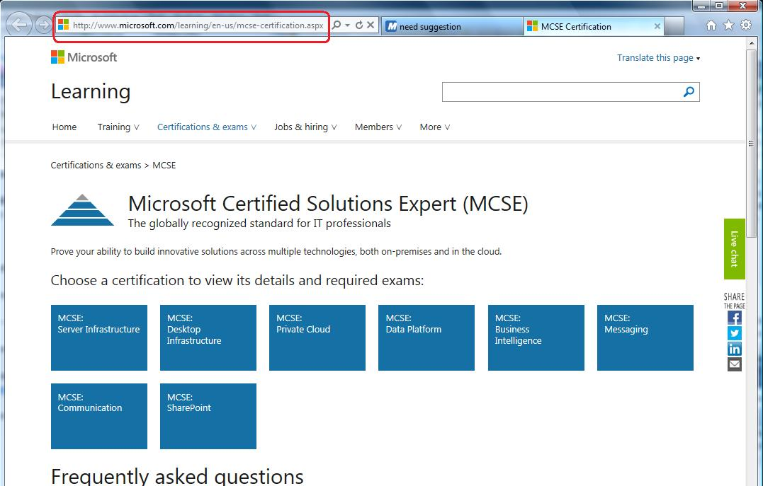 Screen capture MCSE @ MS Learning