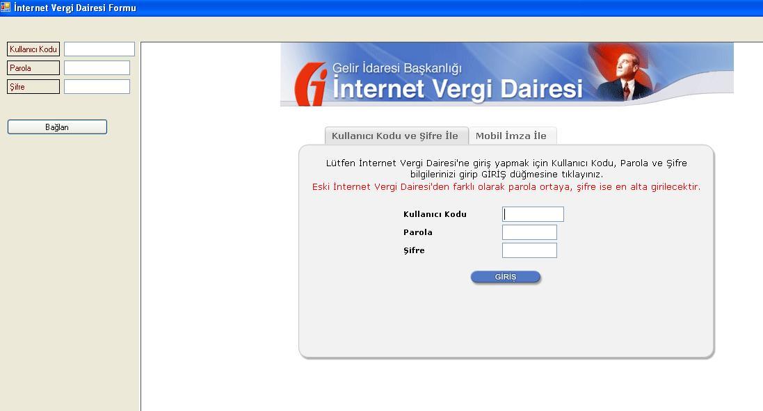 İnternet Vergi Dairesi Giriş ve Button Click
