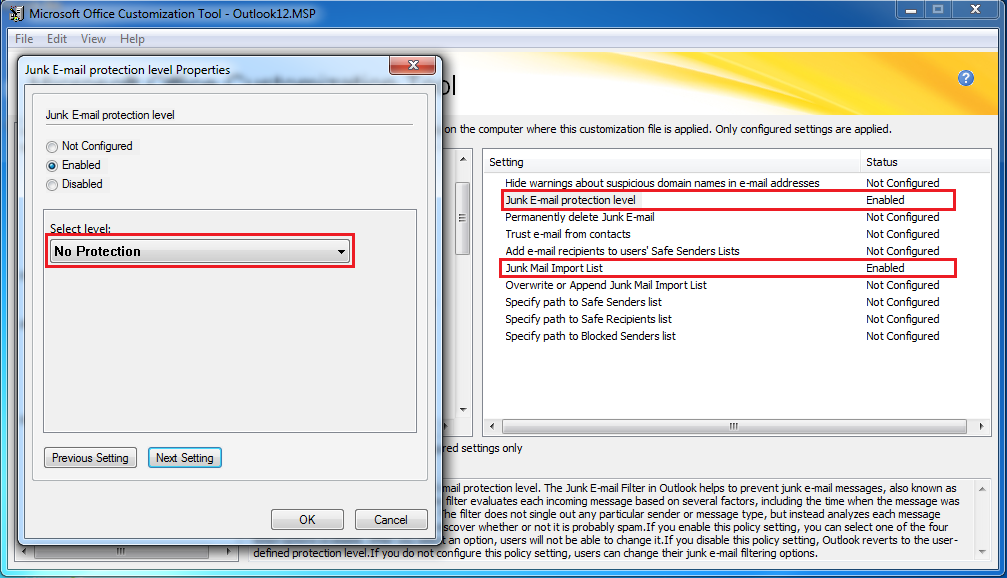 how to change junk email settings in outlook 2010