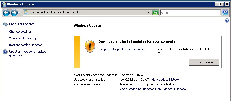 Windows Update Cpl On The 2008 Sever Showing That It Needs 2 Updates