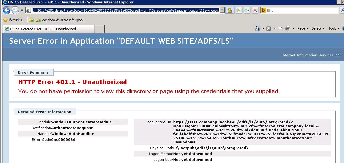 Error Page of Server Side Login