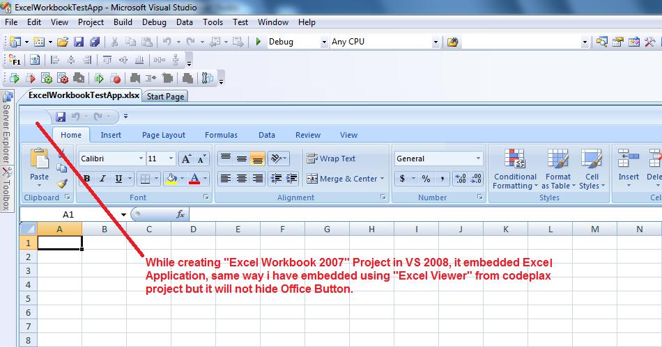 Hide Embedded Microsoft Excel