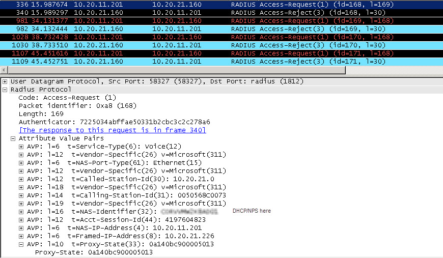 NAP DHCP does not work via RADIUS Proxy  Event ID 6273