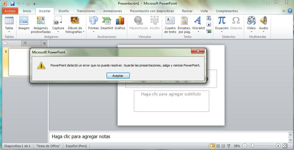 Problemas al insertar imagen en: Word, Powerpoint, Excel 2010