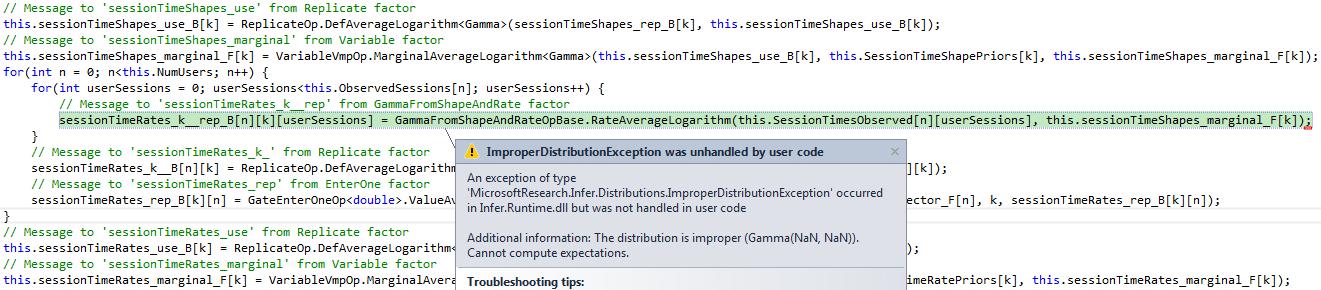 error in VMP inference