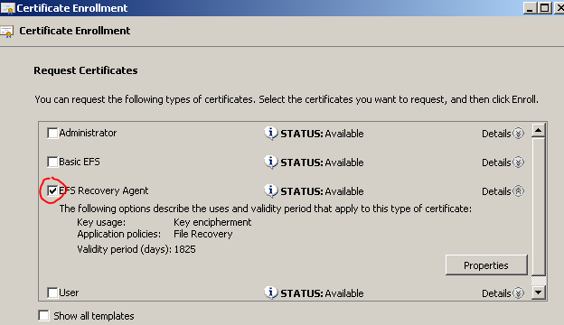 How i can config recovery agent for efs in domain once admin gets efs recovery agent certificate then add admin to the dra in group policy and then try to open newly encrypted documents yelopaper Choice Image