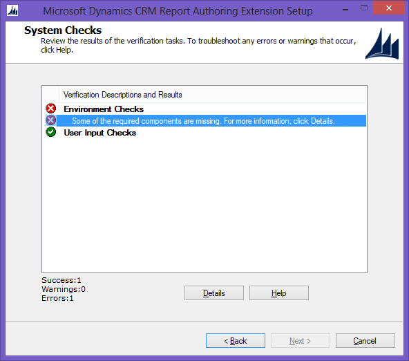 Error while installing the Microsoft Dynamics CRM 2013 Report